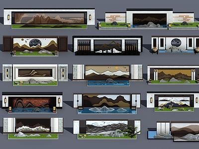 新中式擬山石景觀背景墻3d模型