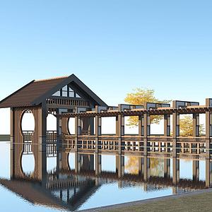 新中式廊架模型