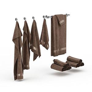 棕色毛巾組合模型