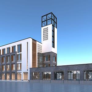 新中式辦公樓模型