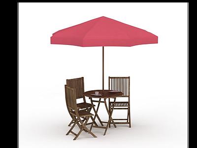 3d戶外遮陽傘座椅模型