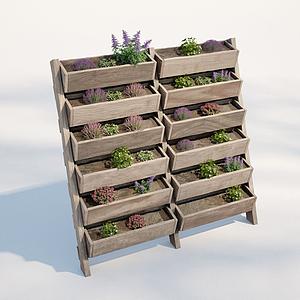 現代戶外植物盆栽架模型