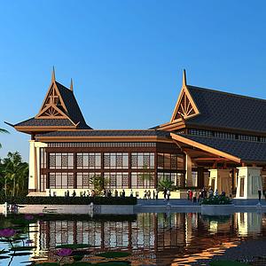 東南亞風情酒店模型