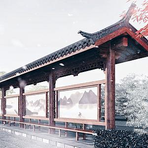 中式公交車站臺模型