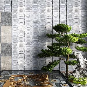 3d新中式景觀墻石頭松樹灌木模型