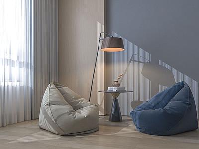 C4D懶人沙發3d模型模型