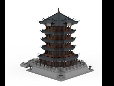 3d黃鶴樓模型