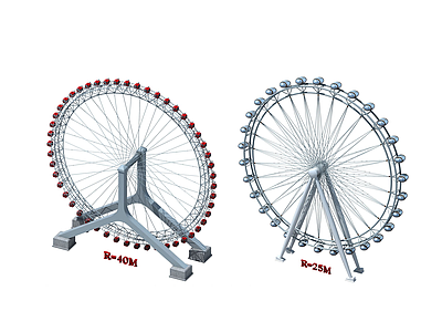 現代時尚摩天輪游樂設備3d模型