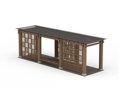 3d新中式廊架免費模型