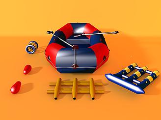 充氣雙人皮艇模型