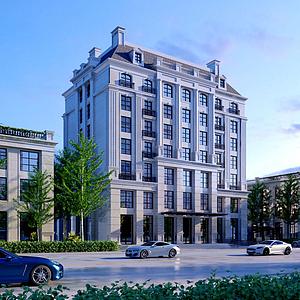 歐式建筑辦公樓模型