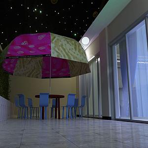 洋房負樓花園夜景模型