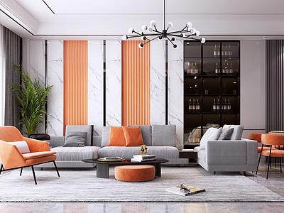 現代輕奢客廳模型3d模型
