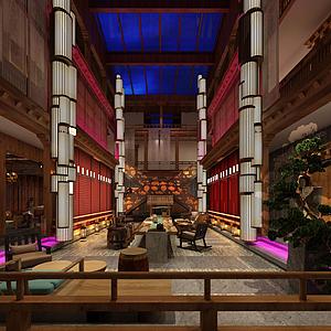 中式酒店大堂模型