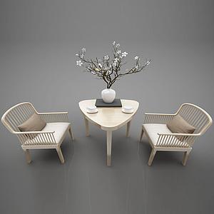 現代木質休閑椅模型