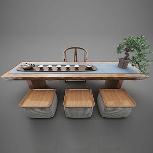 3d現代風格<font class='myIsRed'>茶桌</font>椅模型