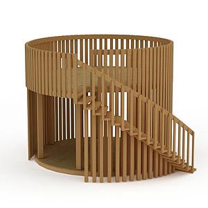 創意實木旋轉樓梯模型