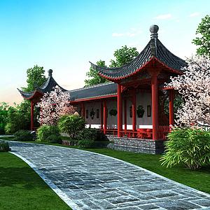古建長廊模型