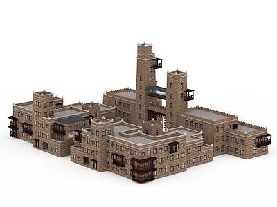 3d羌族活動中心模型