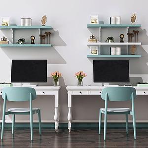 歐式書桌椅模型