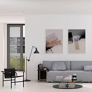 現代客廳沙發茶幾休閑椅模型
