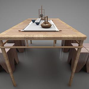 現代風格茶桌椅模型