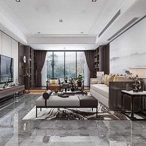 新中式風格客廳模型