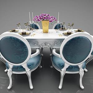 歐式風格餐桌椅模型