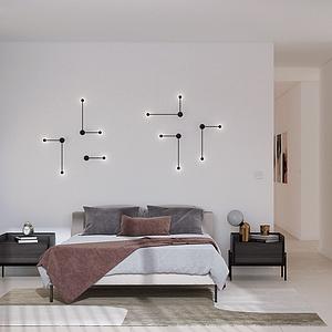 現代臥室雙人床模型