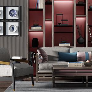 新中式木框沙發茶幾模型