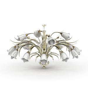 3d創意百合吊燈模型