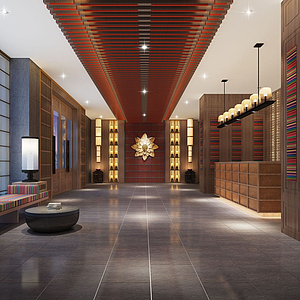 新中式大廳模型