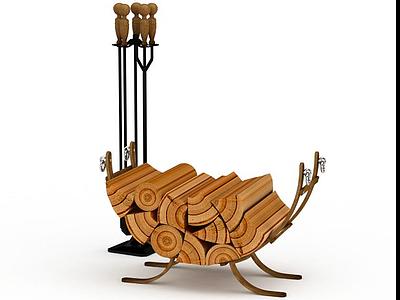 壁爐柴火模型3d模型