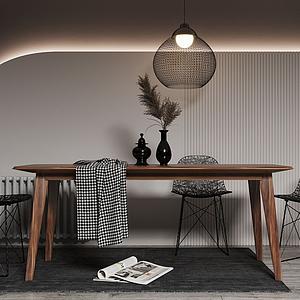 北歐簡易餐桌椅模型