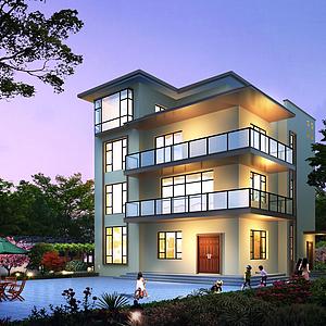 住宅別墅夜景模型