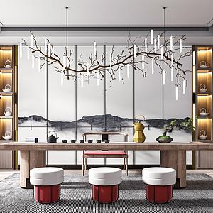 新中式茶室模型