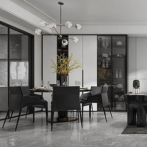 現代客廳沙發茶幾模型
