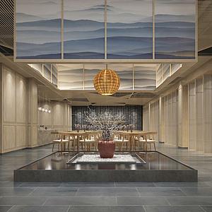 新中式,風格餐廳模型
