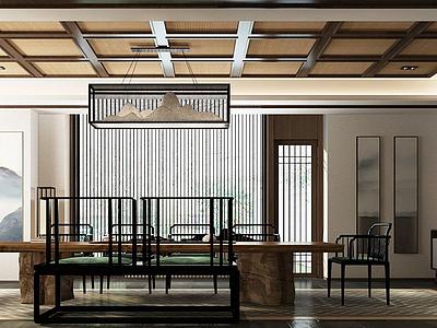 新中式,風格茶室3d模型