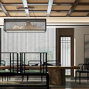新中式,風格茶室模型