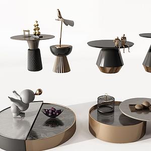 現代簡歐金屬邊幾茶幾模型