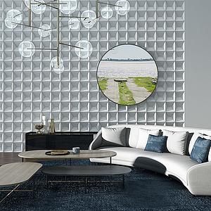 現代異形戶型半圓沙發模型