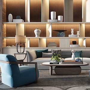 新中式茶幾休閑椅子模型