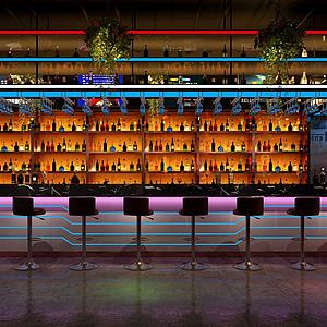 現代酒吧吧臺模型