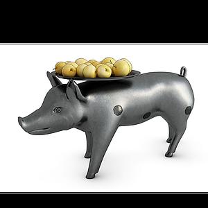 現代果盤豬茶幾模型