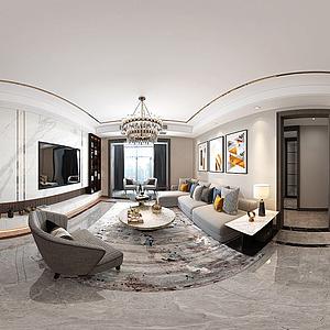 現代輕奢風格客廳模型