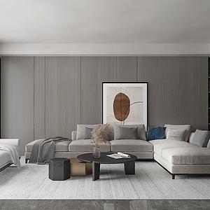 現代輕奢客廳模型