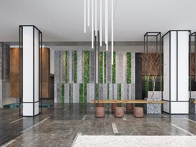 大廳,風格茶室3d模型