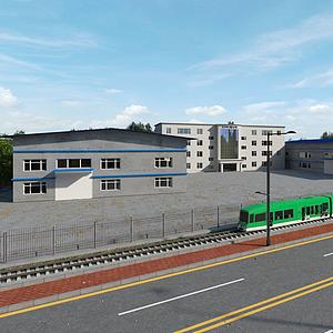 現代工廠廠房外觀模型