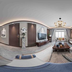 新中式風格客廳餐廳全景模型